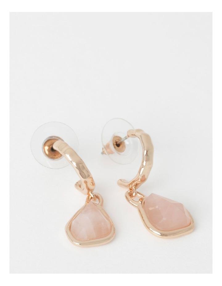 Rose Quartz Drop Hoop Earrings image 1