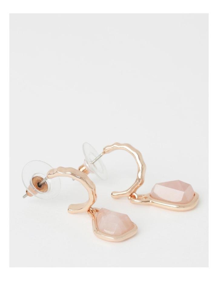 Rose Quartz Drop Hoop Earrings image 2
