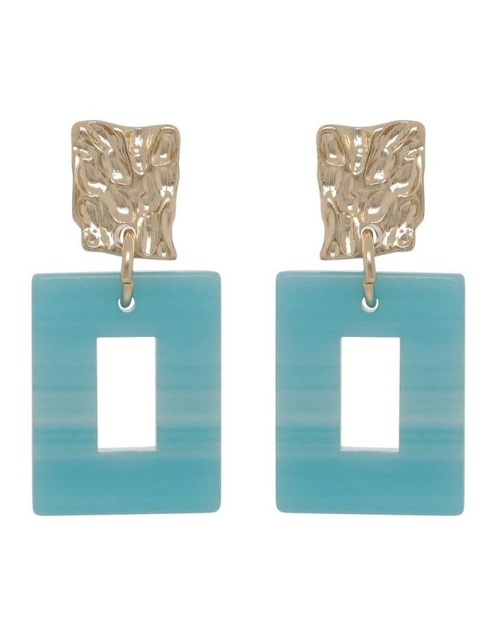 Aqua Molten Rectangle Drop Earrings image 1