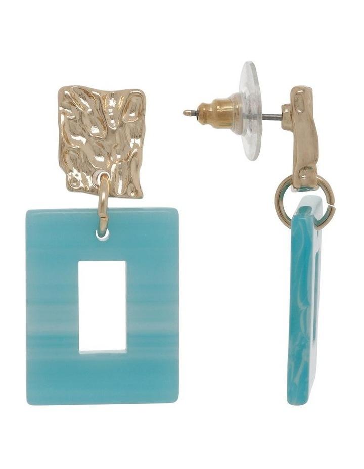 Aqua Molten Rectangle Drop Earrings image 2