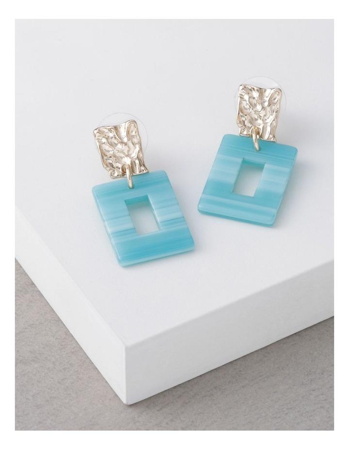 Aqua Molten Rectangle Drop Earrings image 3