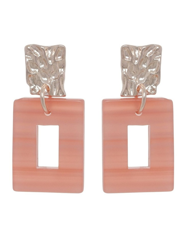 Coral Molten Rectangle Drop Earrings image 1