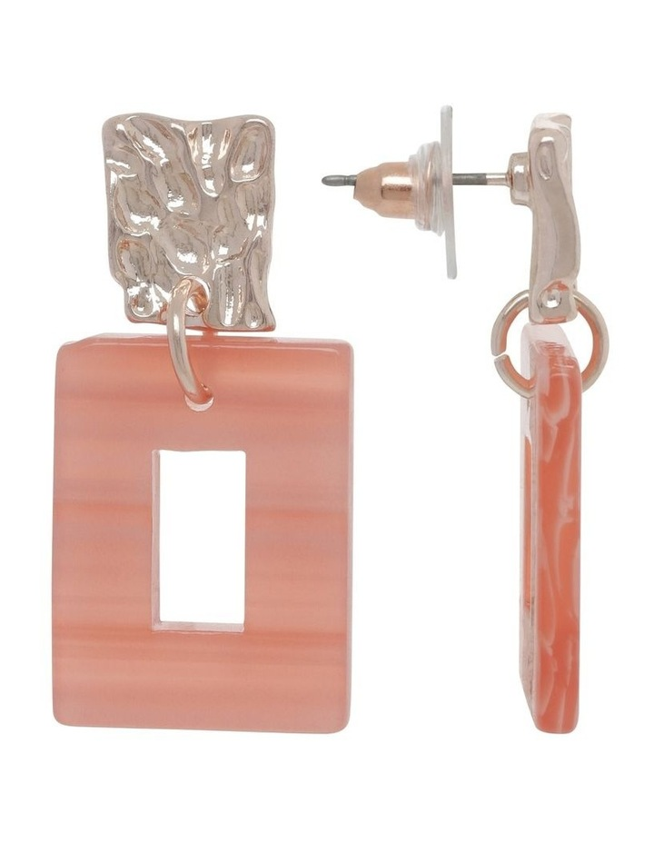 Coral Molten Rectangle Drop Earrings image 2