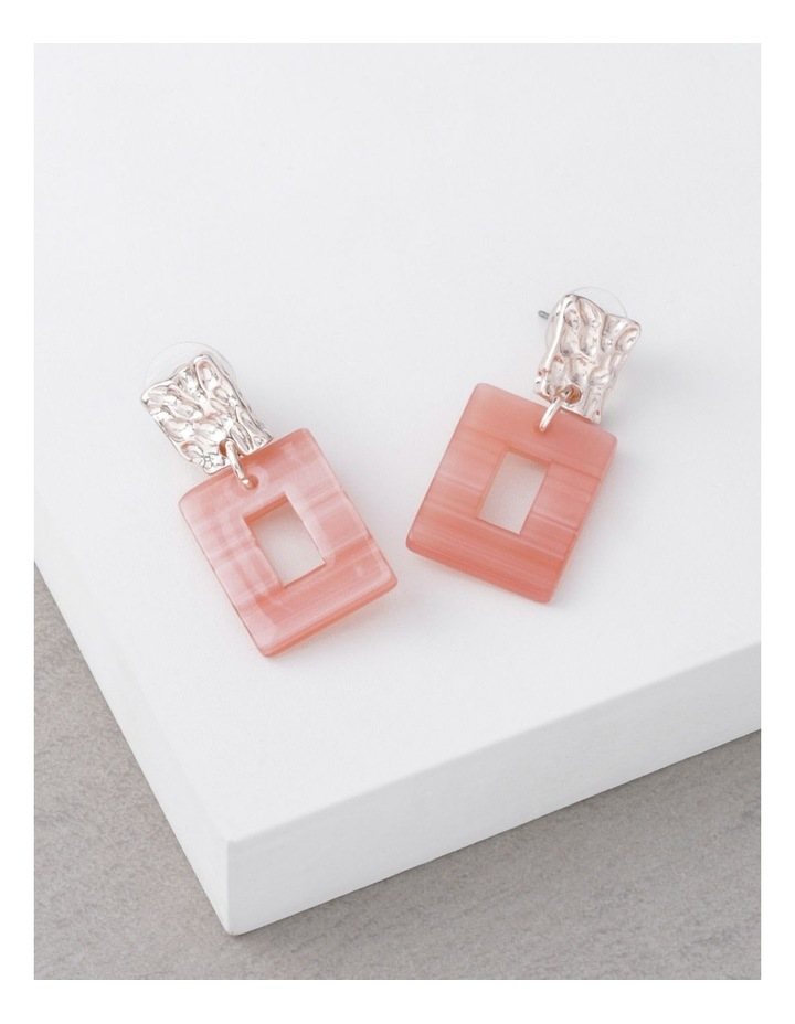 Coral Molten Rectangle Drop Earrings image 3