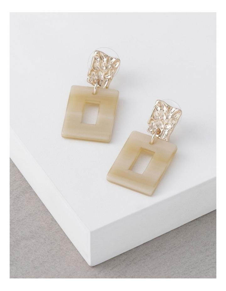 Cream Molten Rectangle Drop Earrings image 3