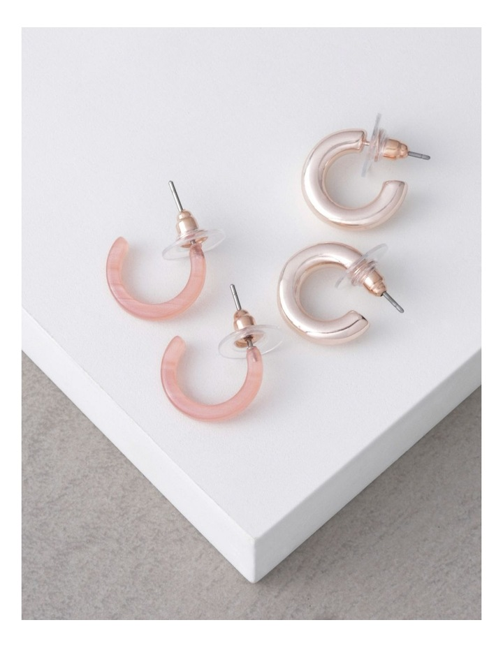 Rose Gold & Coral Acetate Mini Hoop Pack image 3