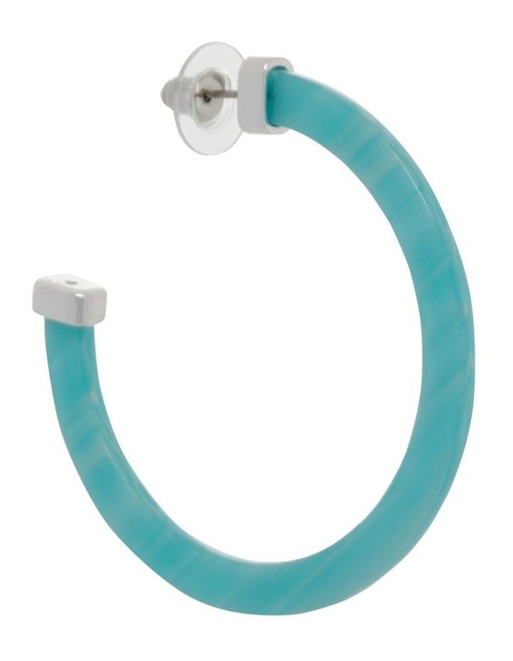 Aqua Acetate Hoop Earrings image 2