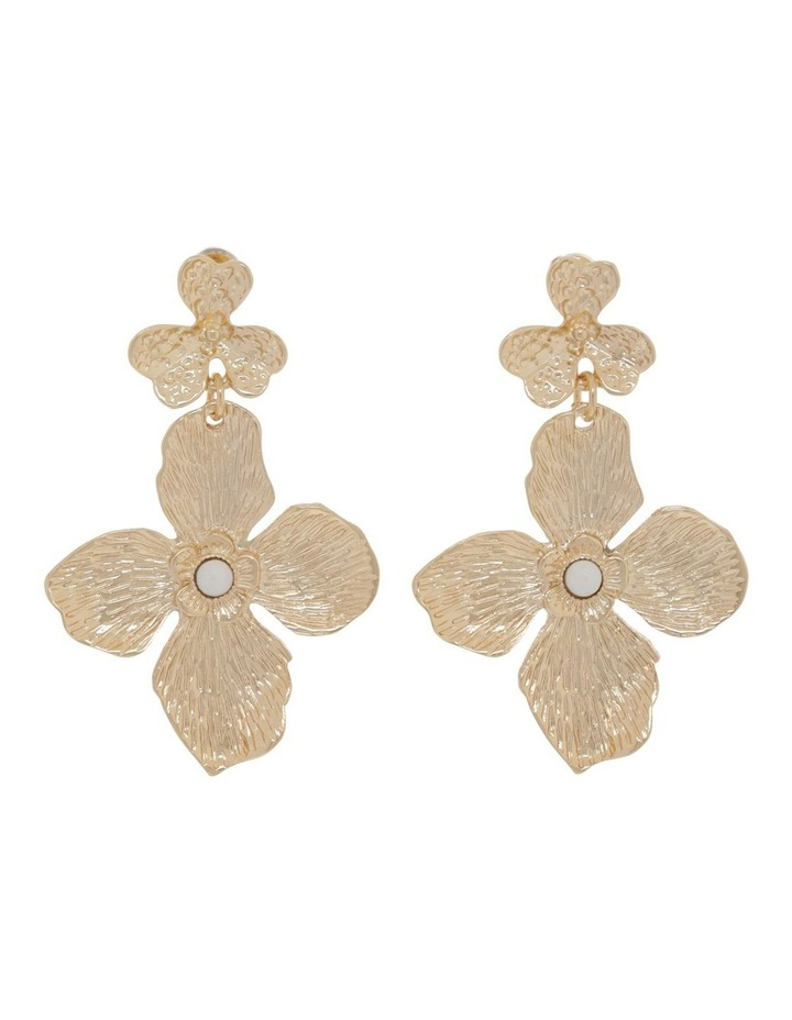 Gold Statement Flower Earrings image 1
