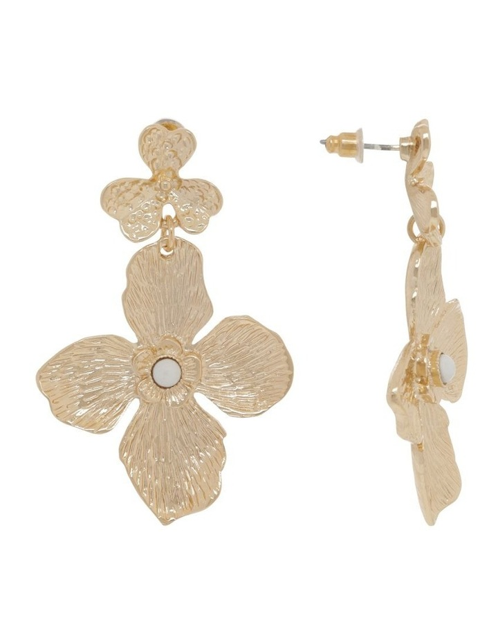 Gold Statement Flower Earrings image 2
