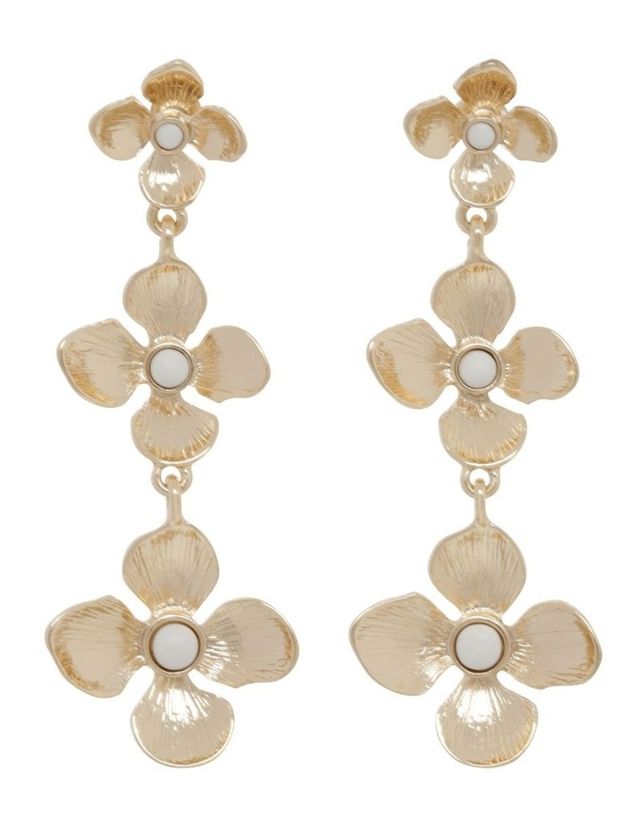 Gold Tiered Flower Earrings image 1