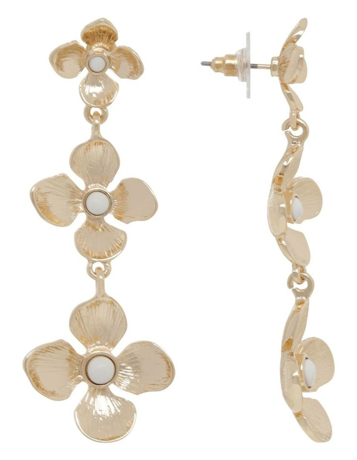 Gold Tiered Flower Earrings image 2