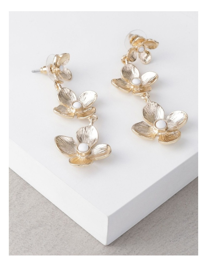 Gold Tiered Flower Earrings image 3