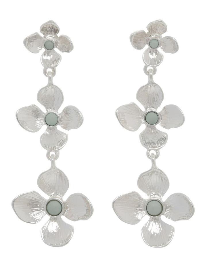 Silver Tiered Flower Earrings image 1