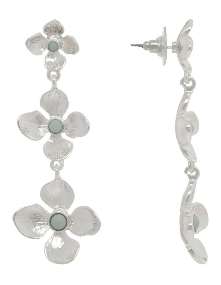 Silver Tiered Flower Earrings image 2