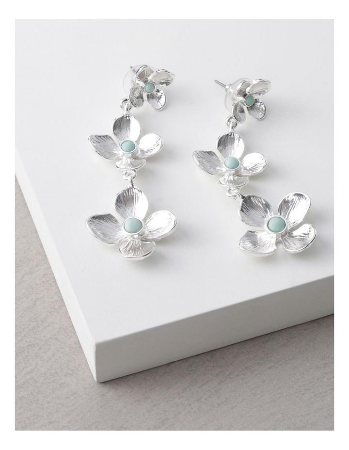 Silver Tiered Flower Earrings image 3