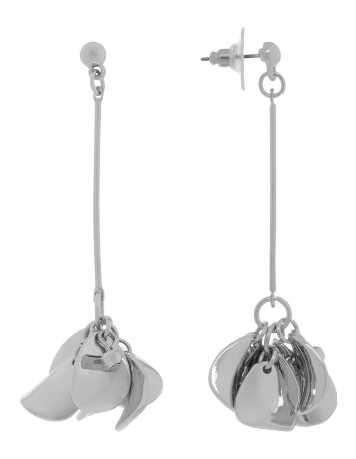 Silver Petal Drop Earrings image 2