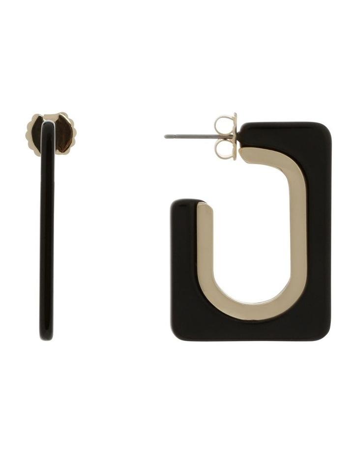 Black Rectangle Tort Hoop Earrings image 1