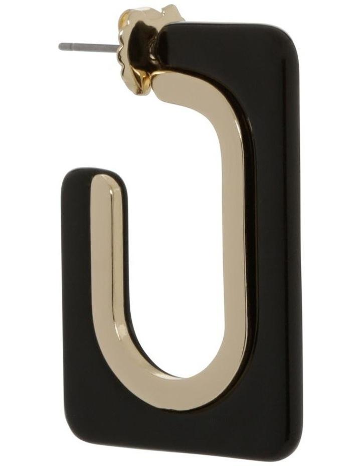 Black Rectangle Tort Hoop Earrings image 2