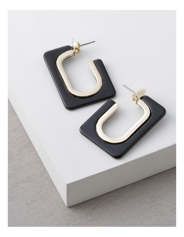 Black Rectangle Tort Hoop Earrings image 3
