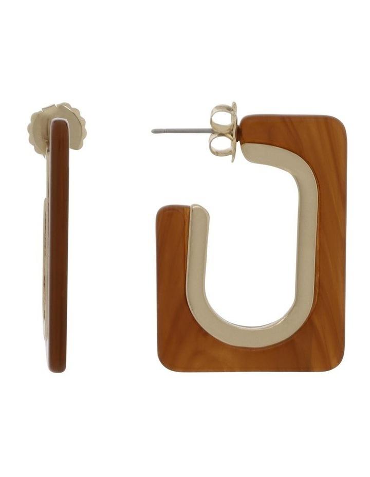 Pecan Rectangle Tort Hoop Earrings image 1