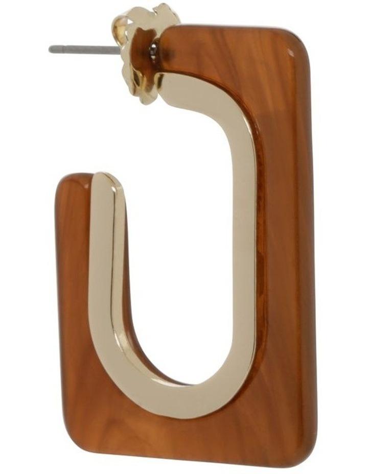 Pecan Rectangle Tort Hoop Earrings image 2