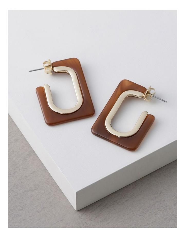 Pecan Rectangle Tort Hoop Earrings image 3