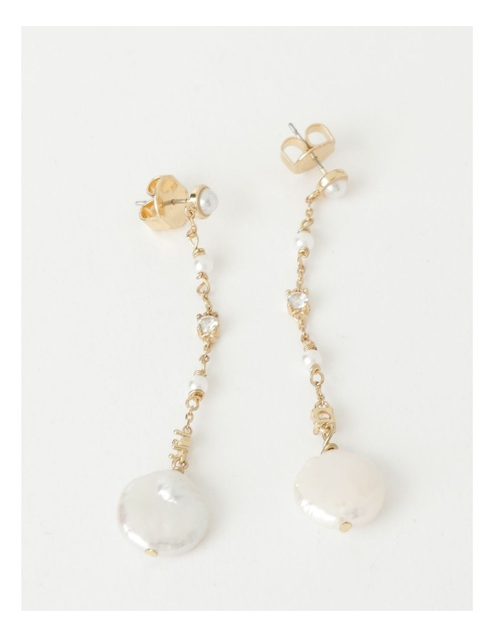 Dainty Chain with Pearl Gold Drop Earrings image 1