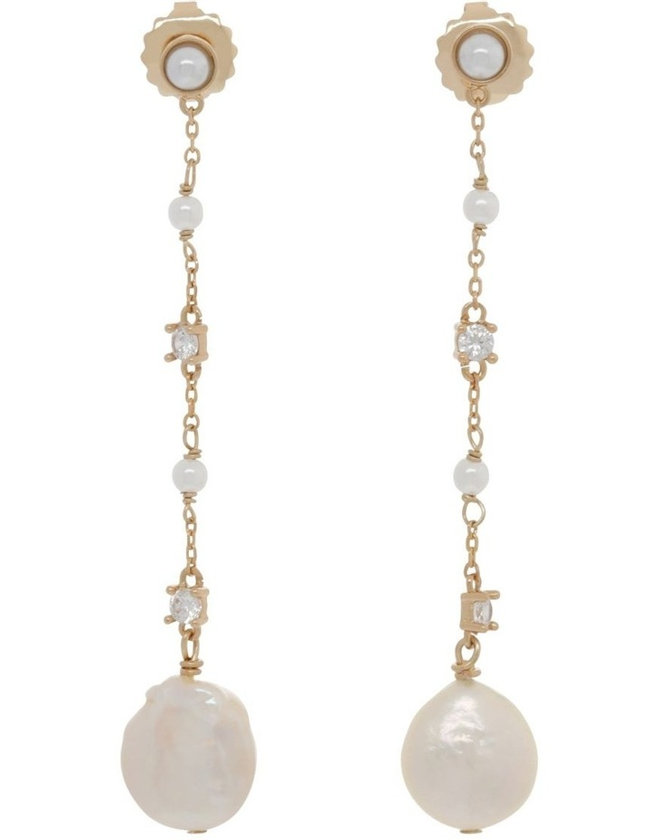 Dainty Chain Drop Earrings with Pearl image 1