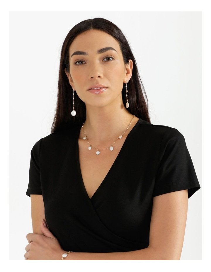 Dainty Chain with Pearl Gold Drop Earrings image 2