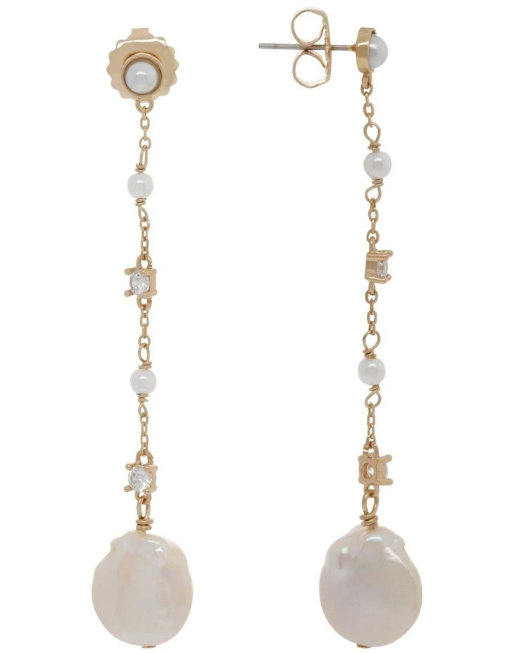 Dainty Chain Drop Earrings with Pearl image 2