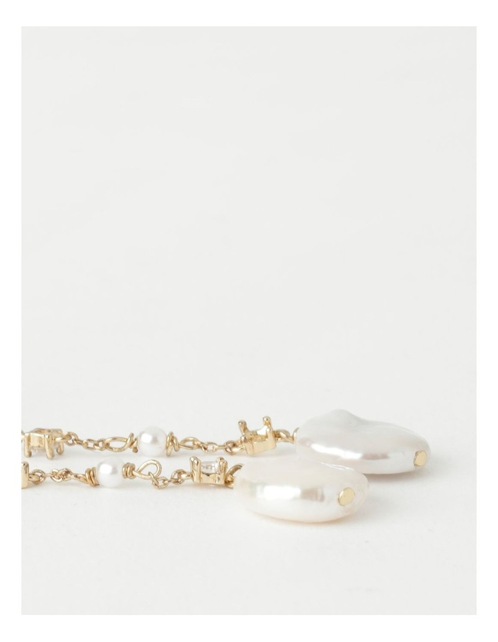 Dainty Chain with Pearl Gold Drop Earrings image 3