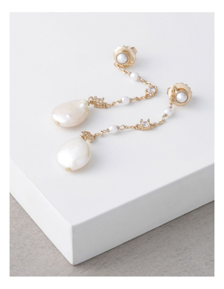 Dainty Chain Drop Earrings with Pearl image 3