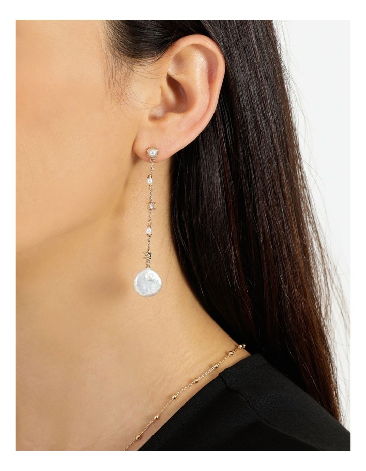 Dainty Chain with Pearl Gold Drop Earrings image 4
