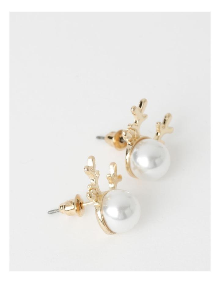 Reindeer Pearl Stud Earrings image 2