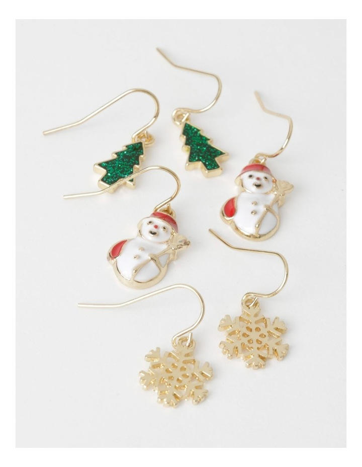 3 Pack Assorted Christmas Drop Earrings image 1