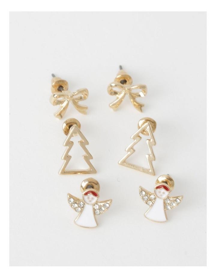 3 Pack Assorted Christmas Stud Earrings image 1