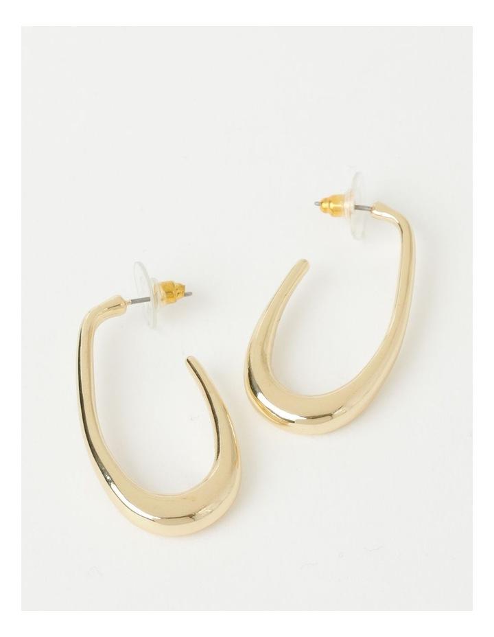 Sculptured Oval Gold Hoop Earrings image 1