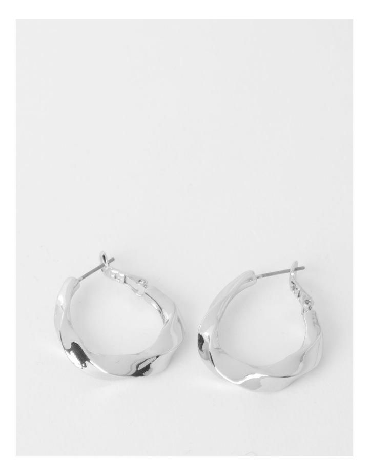 Molten Twist Medium Silver Hoop Earrings image 1