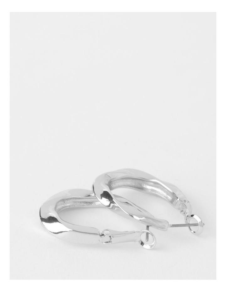 Molten Twist Medium Silver Hoop Earrings image 3
