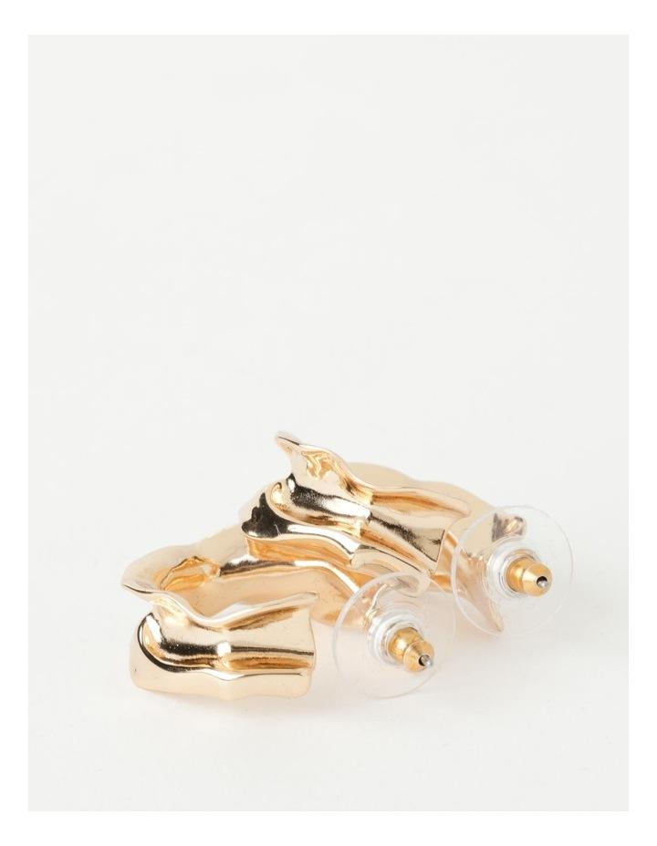 Sculptural Molten Gold Hoop Earrings image 3