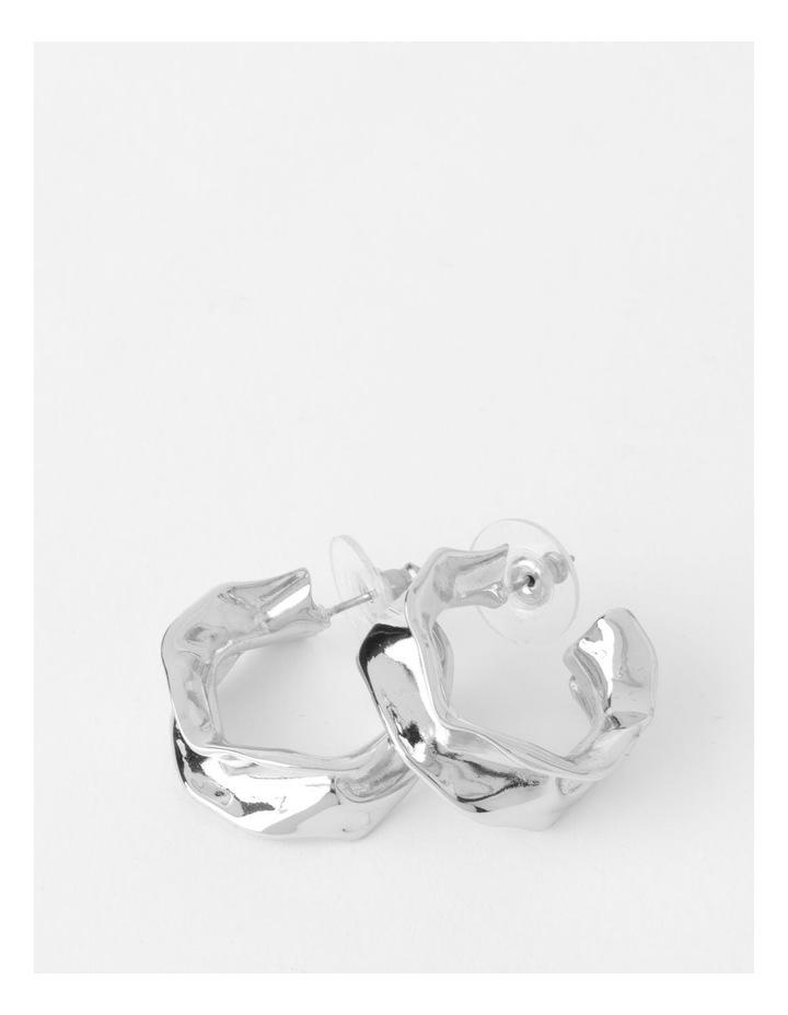 Sculptural Molten Silver Hoop Earrings image 1