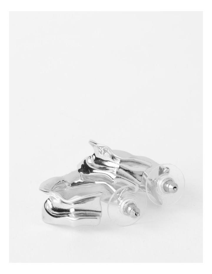 Sculptural Molten Silver Hoop Earrings image 3