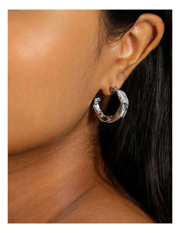 Sculptural Molten Silver Hoop Earrings image 4