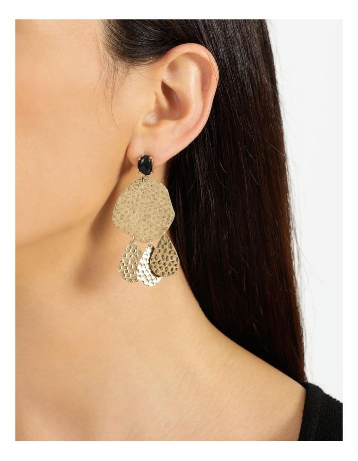 Hammered Metal Stone Black Drop Earrings image 4