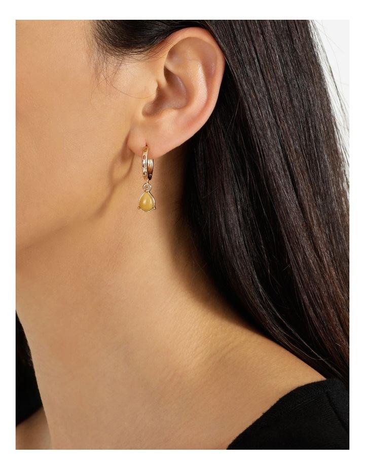 Stone Hoop Camel Huggie Earrings image 4