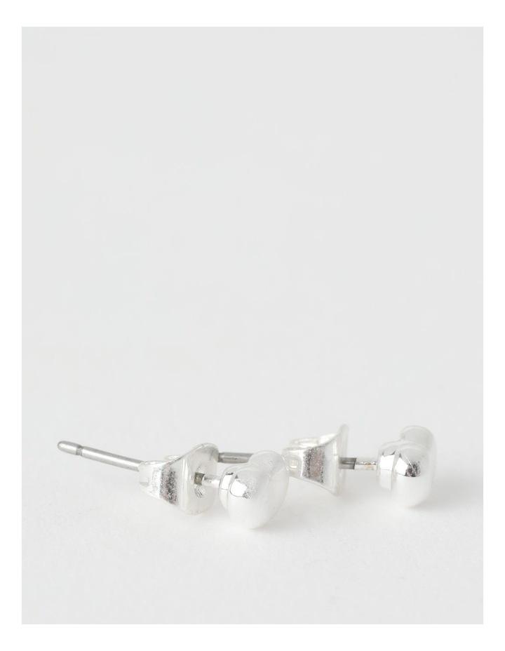 Bean Silver Stud Earring image 2