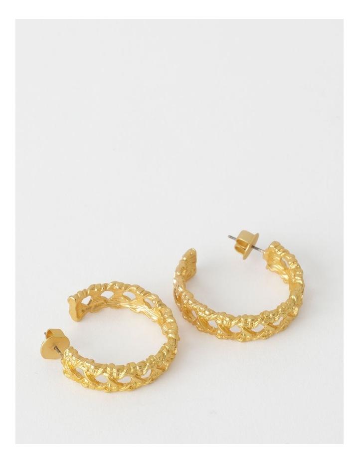 Lattice Hoop Gold Earring image 1