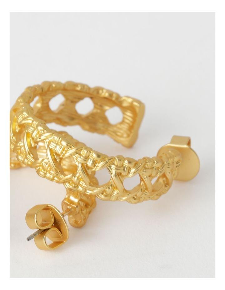 Lattice Hoop Gold Earring image 3