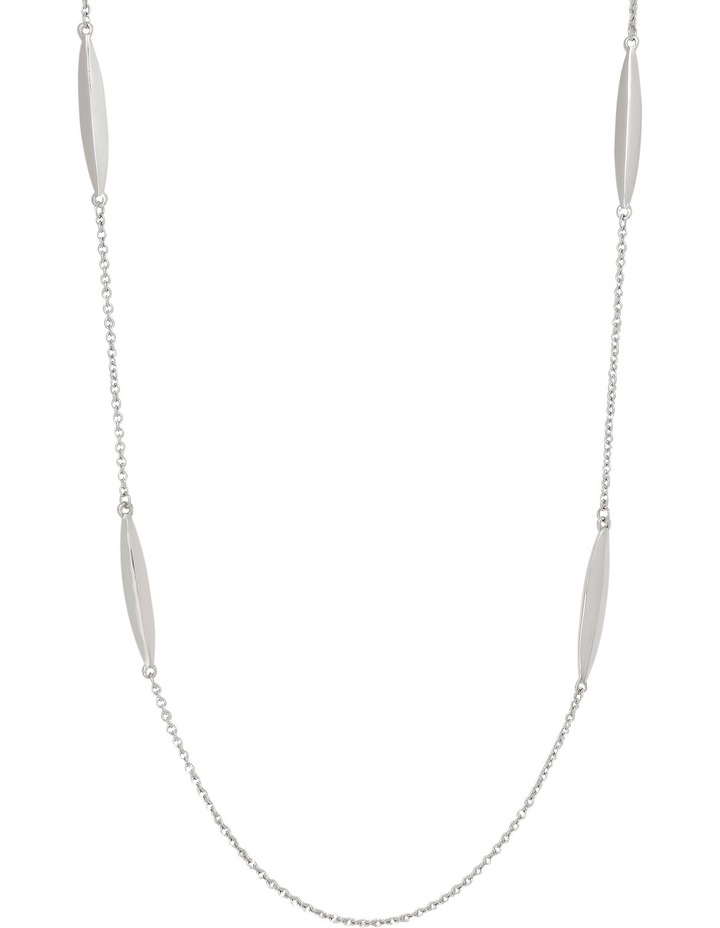 A66313BA Core Minimalist Metal Station Long Necklace in Rhodium image 1