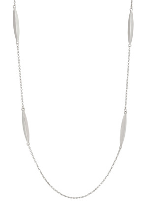 Basque - A66313BA Core Minimalist Metal Station Long Necklace in Rhodium